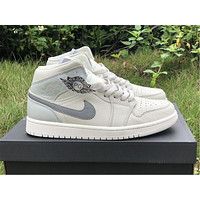LO Air Jordan 1 Mid, silver gray and white color