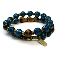 Clarity and Prosperity, genuine Sapphire Jade and Tiger's eye 27 bead wrap bracelet™