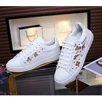 Louis Vuitton LV Women Fashion New Floral Leather Leisure High Quality Shoes White