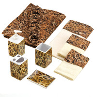 9 Piece Bathroom Set With Leopard Print