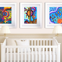 Abstract Colorful Set of 3 Nursery Decor - 8x10 Poster Prints