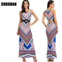 Women Maxi Dress 2017 New Summer Sexy Hollow Out Sleeveless Pencil Dress Long Bohemian Print Tank Dresses Ladies Clothing