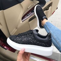 Alexander McQueen Black sneakers increase women's casual shoes