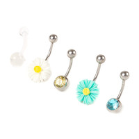 14G Daisy Belly Rings Set of 5