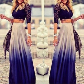 2015 New Fashion Women Pleated Long Skirts Gradient Bohemian Girls Casual Tropical Blue Maxi Skirt Plus Size Cheap Clothes