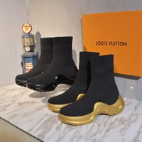 2020 Office New【Louis Vuitton】LV One Word With Flat Bottom snow high top boots sock sneaker running  High Boots DISCOUNT best quality