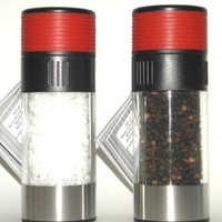 Olde Thompson Tower Red 3027-23 Pepper Peppermill & Tower Red 3827-23 Salt Mill - 2 Pc Set