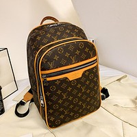 LV Louis Vuitton Letter Print Large Capacity Backpack School Bag