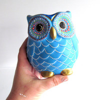 Blue Owl Vase: Small hand painted ceramic Owl vase or pencil holder