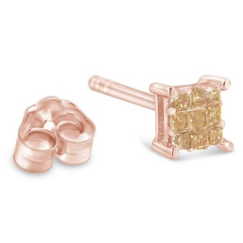 Rose Plated Sterling Silver 1/4ct TDW Princess
