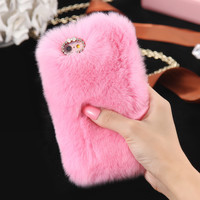 Cutesy and Soft Rabbit Fur Case for iPhone 6 6s 6s Plus