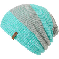Empyre Girls Piper Green & Grey Rugby Stripe Beanie