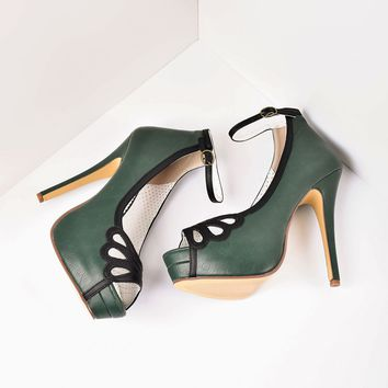 Retro Style Forest Green & Black Leatherette Peep Toe Platform Cutout Pumps