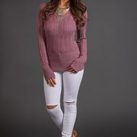 Oh How Darling Cable Knit V Neck Sweater (Rose)