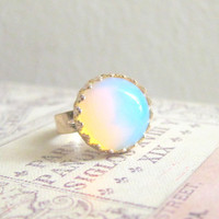 Moonstone Ring Opal Gem Stone Ring Blue White Translucent Milky Cloudy Winter Snow Modern Simple Classic Classy Minimal Precious Stone
