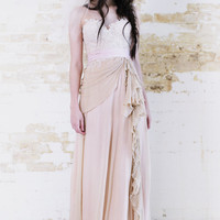 Midsummers Night Dream - Romantic Antique Blush  Lace Wedding Gown Pearls
