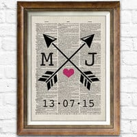Cotton Anniversary Gift, Arrow Heart Wedding Gift, Lover Sign Wall Decor, Personalized Dictionary Art Print, Choose Your Initials #cf10b