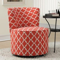 """Coral """" Lantern """" Fabric Accent Chair With Swivel Base"""
