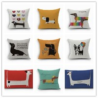 Linen Cotton Rainbow Sausage Dogs Custom Cushion Covers Color Dachshund Pillows Covers Throw Pillows Cases kids Gift