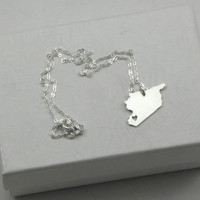 Syria Necklace - Sterling Silver Personalized Country Love Heart