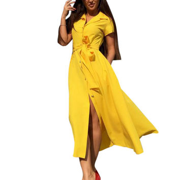 2017 New Fashion Women Summer Casual Shirt Dress Party Evening Long Max Dress Plus Size S4
