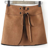 Brown Lace Up Suede Skirt
