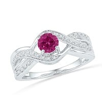 Sterling Silver Women's Round Lab-Created Pink Sapphire Solitaire Diamond Ring 1/10 Cttw - FREE Shipping (US/CAN)