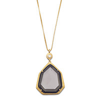 24in 18 Karat Gold Plated Brown Glass Necklace