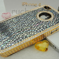 Iphone 4 Case - Iphone Cover - Luxury Lovely Black Discolor Leather Skin Bling Crystal Chrome Bmuper Case Cover Skin For Iphone 4 4S 4G