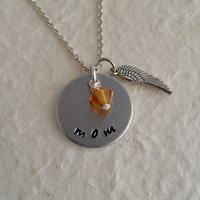 "Hand Stamped Memorial Necklace with Birthstone / ""mom"" Remembrance Pendant / Angel Wing Necklace / Memory Necklace"