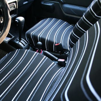Car Seat Covers, Black & White Stripes (pair of covers for adult front car seats)