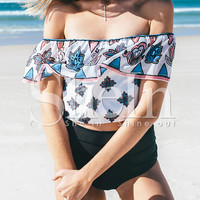 White Off The Shoulder Vintage Print Crop Top -SheIn(Sheinside)