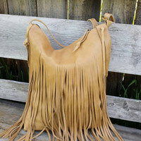 Large Fringe Harvest Tan Leather Boho Chic Tote