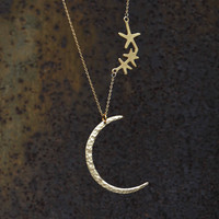 gold  plated matte crescent moon necklace N034 by fantasticgift