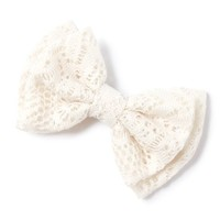 Crocheted Lace Double Bow Hair Clip  | Icing