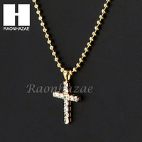 Sterling Silver .925 AAA Lab Diamond Jesus Cross w/2.5mm Moon Chain S30
