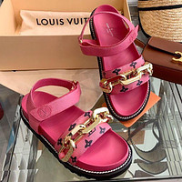LV Louis Vuitton new chain personality sandals ladies casual beach shoes