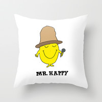 Mr. Happy Throw Pillow by Trend