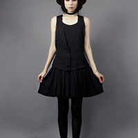 Size 6 Small Vintage 1990s Black Minimalist Pleated Mini Skirt & Vest School Girl Outfit Button Up Dress