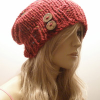 Fall Autumn Cranberry Merlot Dark Red Multicolor Tweed Slouchy Hand Knit Oversized Ribbed Woodsy Beanie Hat With Wood Buttons