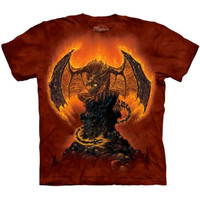 HARBINGER OF FIRE The Mountain Dragon Flame Skull Fantasy Art T-Shirt S-3XL NEW