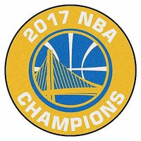"""Golden State Warriors 2017 NBA Champions 27"""" Basketball Shaped Area Rug"""