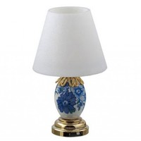 HOUSEWORKS - 1 Inch Scale Dollhouse Miniature Furniture - Led Blue And White Porcelain Table Lamp (HW2301)