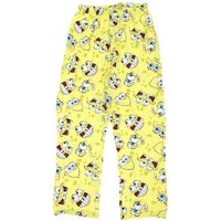 Briefly Stated Men's Spongebob Faces Pajama Pant, Yellow, Large