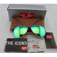 Cheap New Ray Ban RB3025 Aviator Flash Lenses 112/19 Gold Frame/Green Flash sunglasses outlet