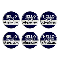 Abraham Hello My Name Is Plastic Resin Button Set of 6
