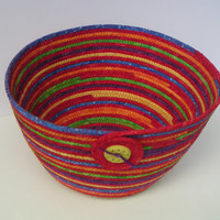 Large Coiled Fabric Basket, Bowl, Multicolored