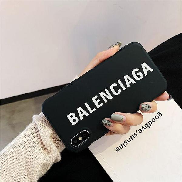 Image of Balenciaga BB Apple iphone11Pro Max mobile phone shell XR/7/8plus/Xs matte soft cover protective cover