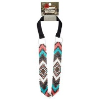 Teal & Coral Zig Zag Beaded Elastic Headband | Shop Hobby Lobby