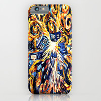 Exploded with Flame Blue phone Box oil painting iPhone & iPod Case by Greenlight8